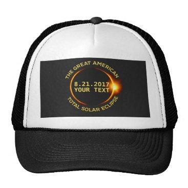 USA Themed Total Solar Eclipse 8.21.2017 USA Custom Text Trucker Hat