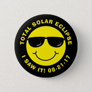 Total Solar Eclipse Cool Smiley Face Button
