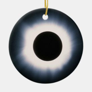 Total Solar Eclipse in Black and White Ceramic Ornament