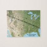 Total Solar Eclipse Path Map 2017 Jigsaw Puzzle<br><div class='desc'>Map of the United States for August 21,  2017 developed by NASA shows the path and times of the total solar eclipse as it crosses the nation.</div>