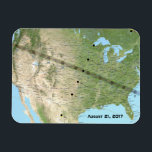 "Total Solar Eclipse Path Map 2017 Magnet<br><div class=""desc"">Map of the United States for August 21,  2017 developed by NASA shows the path and times of the total solar eclipse as it crosses the nation.</div>"