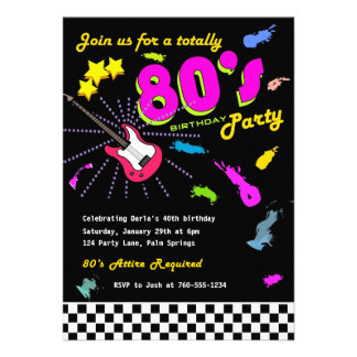 Totally 80 s Birthday Party Invitations