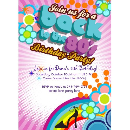 Totally 80's Birthday Bash girl party invitation invitation