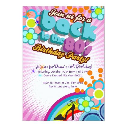 totally 80 s birthday bash girl party invitation zazzle com
