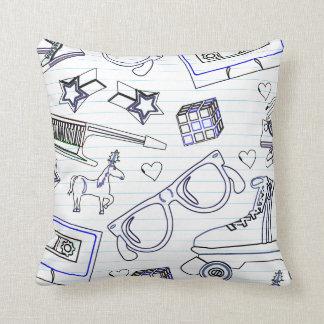 Totally 80's Doodle Throw Pillow