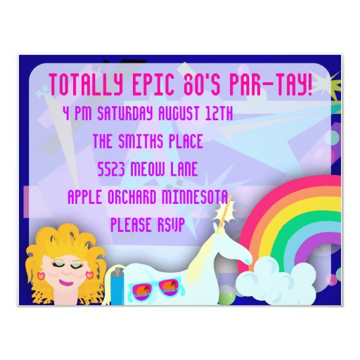 Totally 80s Epic Party Time 4.25x5.5 Paper Invitation Card