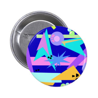 Totally 80's Neon Pattern Button