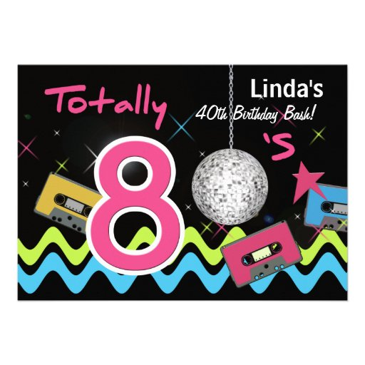 totally 80's retro  party Invitation