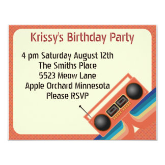 Totally 80s Tapedeck Party Customized Announcement Cards