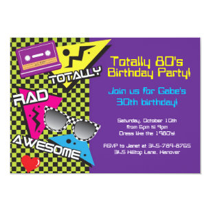 Totally 80s Theme Birthday Party Invitations