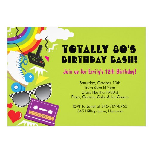 Totally 80's theme birthday party invitations