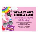 "Totally 80's theme party birthday invitations 5"" x 7"" invitation card"