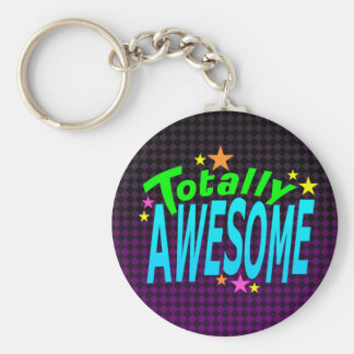 Totally AWESOME Basic Round Button Keychain
