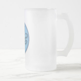 Totally Awesome Blue Frosted Glass Beer Mug