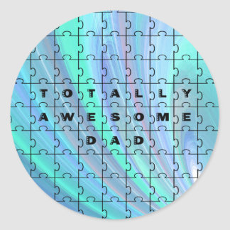 Totally Awesome Dad Puzzle Blue Classic Round Sticker