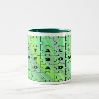 Totally Awesome Dad Puzzle Green Mugs