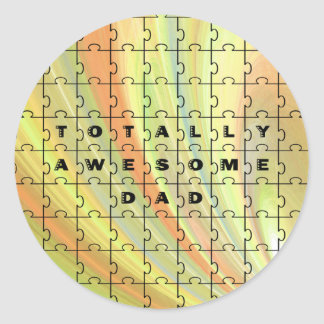 Totally Awesome Dad Puzzle Yellow/Brown Classic Round Sticker