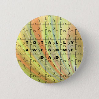 Totally Awesome Dad Puzzle Yellow/Brown Pinback Button