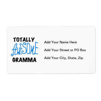 Totally Awesome Gramma Blue Tshirts Gifts Label