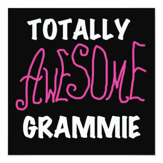 Totally Awesome Grammie Pink T-shirts Gifts 5.25x5.25 Square Paper Invitation Card
