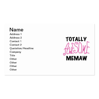 Totally Awesome Memaw Pink T-shirts and Gifts Business Card