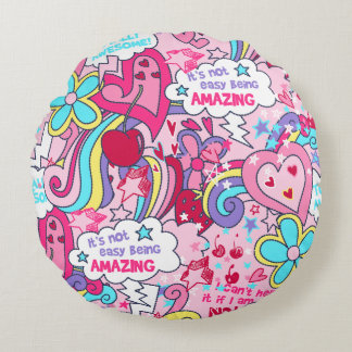 Totally awesome round pillow
