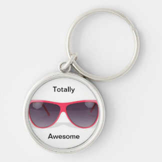 Totally Awesome Sunglasses Silver-Colored Round Keychain