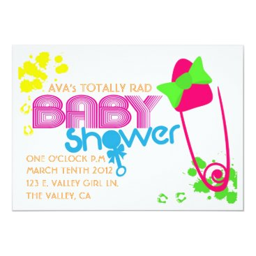 Toddler & Baby themed TOTALLY BABY (80s) INVITATION-WHITE Card
