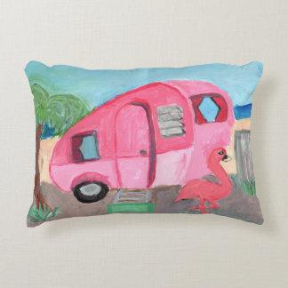 Totally Cute Pink Fifties Beach Trailer Accent Pillow