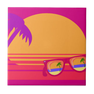 Totally Eighties Awesome Neon Sunset Ceramic Tile