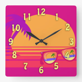 Totally Eighties Awesome Neon Sunset Square Wall Clock