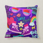 Totally Eighties Purple Collage Throw Pillow