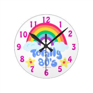 Totally Eighties Rainbow Motto Round Clock