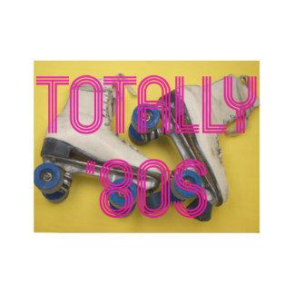 Totally Eighties Roller Skates Wood Poster