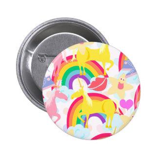 Totally Eighties Unicorn Rainbow Explosion Button