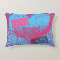 Totally Epic Retro Colors Love Heart Design Accent Pillow