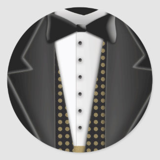 Totally formal tuxedo classic round sticker
