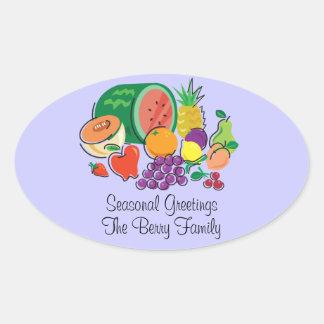 Totally Fruity_Cornucopia_Personalized Oval Sticker
