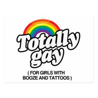 TOTALLY GAY FOR GIRLS WITH TATTOOS -.png Postcard