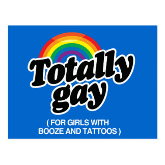 TOTALLY GAY FOR GIRLS WITH TATTOOS - WHITE -.png Postcard