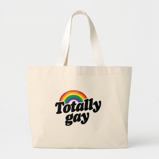 TOTALLY GAY RAINBOW - WHITE -.png Canvas Bag