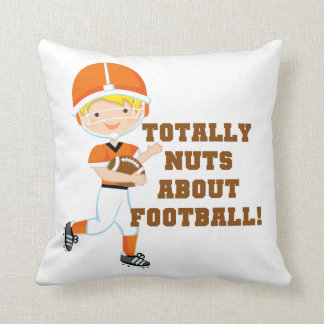 Totally Nuts About Football Throw Pillow