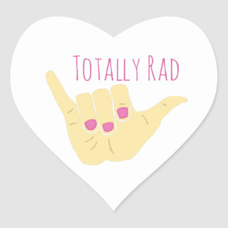 Totally Rad Heart Stickers
