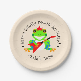 Totally Rockin' Birthday Tree Frog with Red Guitar Paper Plate
