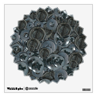 Totally Screwy Various Metal Screw Heads Wall Sticker