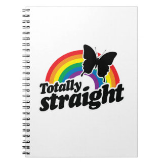 TOTALLY STRAIGHT BUTTERFLY - WHITE - WHITE -.png Spiral Notebook