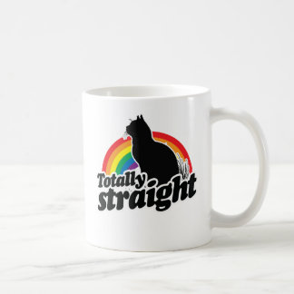 TOTALLY STRAIGHT CAT - WHITE - WHITE -.png Coffee Mug