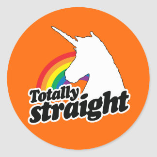 TOTALLY STRAIGHT UNICORN - WHITE -.png Classic Round Sticker