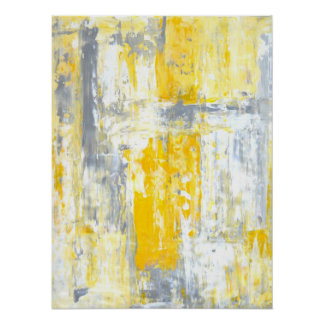'Totally Unique' Grey and Yellow Abstract Art Poster