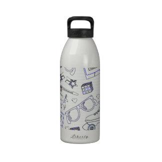 Totalmente Doodle de los años 80 Botella De Agua Reutilizable
